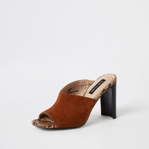 RIVER ISLAND Light brown asymmetric heeled mules ~ curved heels