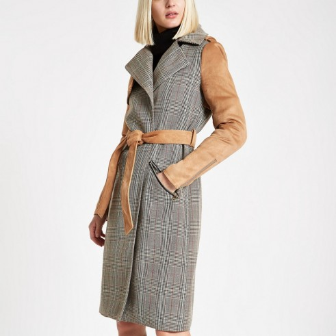 RIVER ISLAND Light brown check suedette trench coat