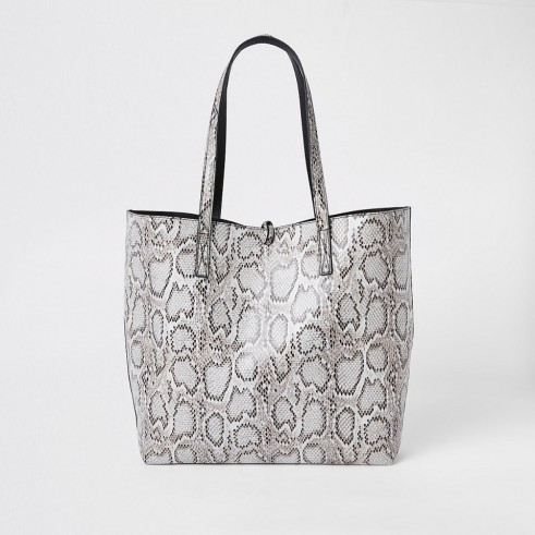 RIVER ISLAND Light grey snake print large tote bag. REPTILE PRINT SHOPPER