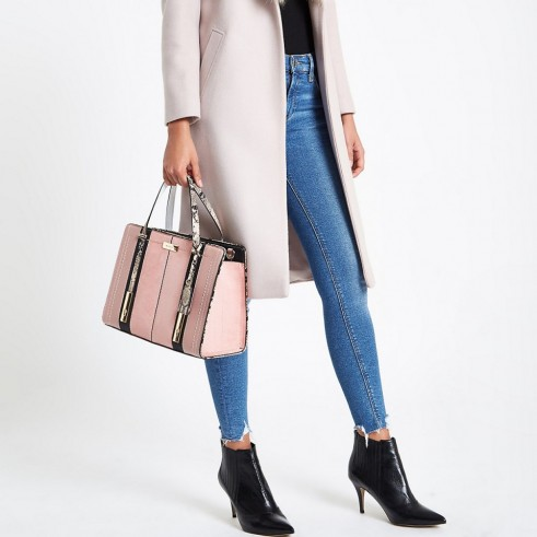 RIVER ISLAND Light pink contrast snake panel tote bag