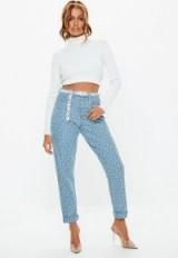 Missguided lightwash riot high rise geo print mom rigid jeans | printed light-blue denim