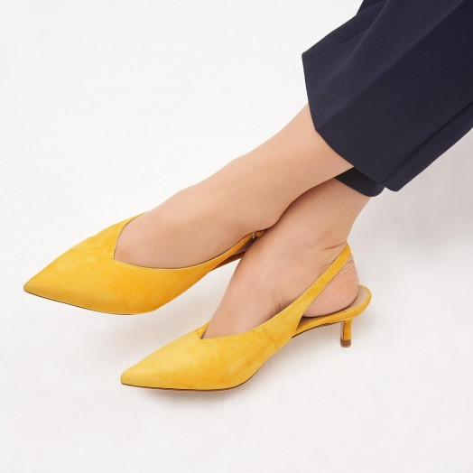 L.K. BENNETT LIVIA YELLOW SUEDE SLINGBACKS in mustard / pointed toe kitten heels
