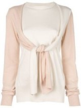 LOEWE panelled tie-sleeve sweater in cream and peach cashmere