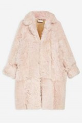 Topshop Boutique Long Shearling Coat in Pink | luxe fluffy coats