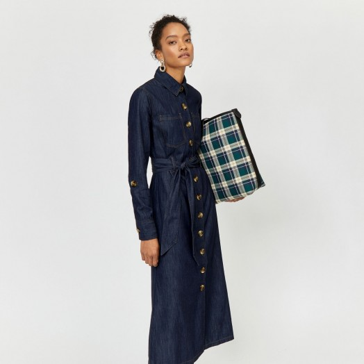 WAREHOUSE LONG SHIRT DENIM DRESS / front button-up dresses