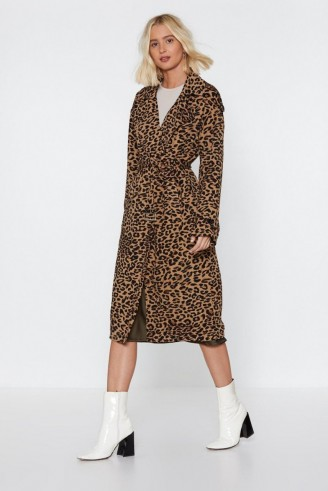 NASTY GAL Long Time Leopard Trench Coat in tan ~ brown animal print coats