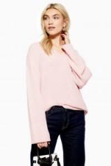 Topshop Longline V-Neck Jumper in Pink | luxe style knitwear