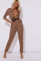 IN THE STYLE LOTTIE BROWN GEOMETRIC PRINT PLUNGE JUMPSUIT – plunging evening jumpsuits