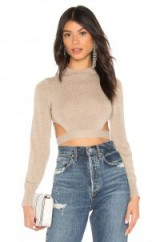 Lovers + Friends Date Night Sweater in Taupe ~ cut-out crop top