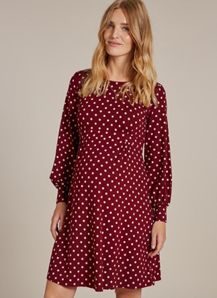 Isabella Oliver LYDIA MATERNITY DRESS in Wine and White Polka – red spot print pregnancy wear