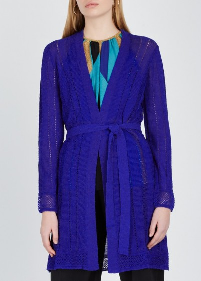 M MISSONI Blue bouclé-knit cardigan ~ longline tie waist cardi