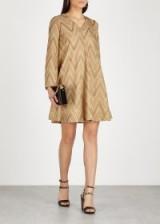 M MISSONI Gold zigzag metallic-knit dress – luxe dresses