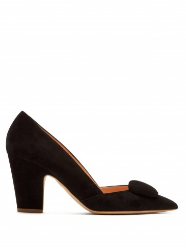 RUPERT SANDERSON Mabel point-toe black suede pumps / vintage style block heel courts