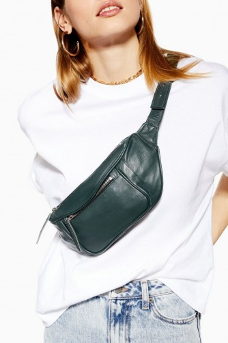 Topshop Madison Leather Bumbag in Green | fanny packs | bum bags