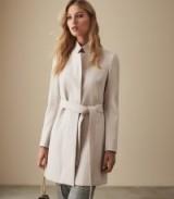 Reiss MAISIE LONGLINE COAT OATMEAL – luxury waist tie coats