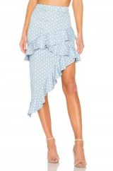 MAJORELLE Sugar Rush Skirt in Baby Blue Dot ~ frill trimmed spring skirts