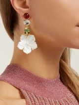 LIZZIE FORTUNATO Margerita white mother-of-pearl flower drop earrings ~ crystal and coloured stone statement jewellery