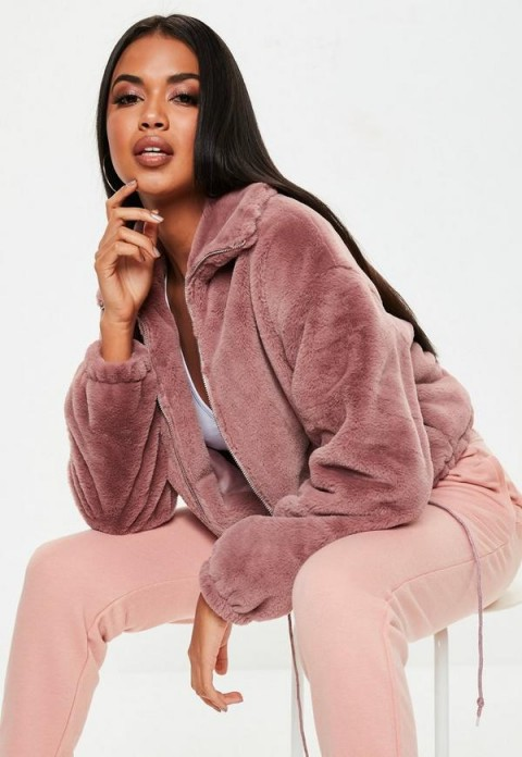 MISSGUIDED mauve faux fur bomber jacket ~ casual luxe