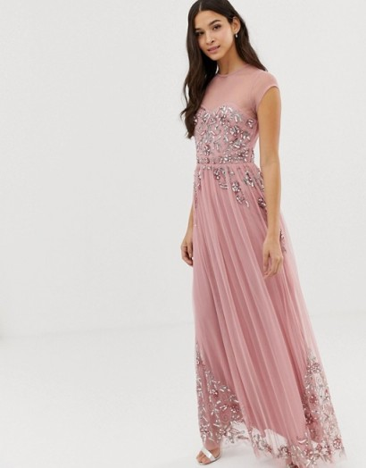 Maya Bridesmaid allover premium embellished mesh cap sleeve maxi dress in vintage rose ~ pink occasion dresses