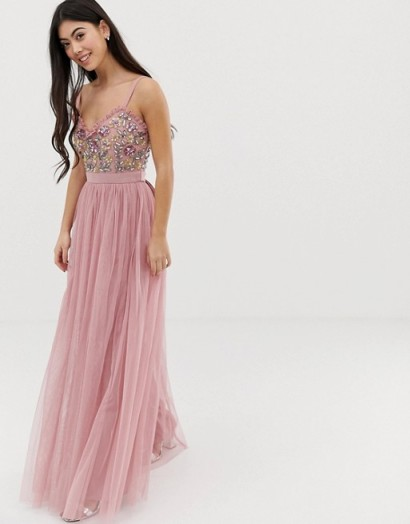 Maya Petite Bridesmaid Cami Strap Contrast Embellished Top Tulle Detail Maxi Dress in Vintage Rose ~ pink strappy occasion dresses