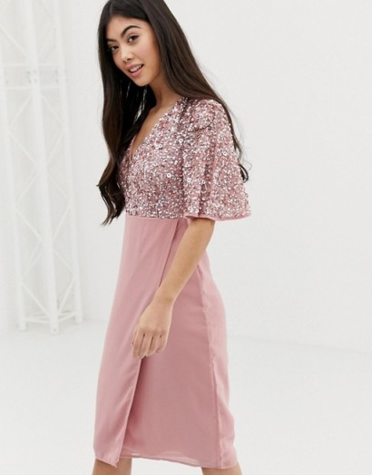 Maya Petite Bridesmaid Sequin Top Midi Pencil Dress With Flutter Sleeve Detail in Vintage Rose ~ pink occasion wear