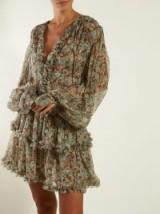 STELLA MCCARTNEY Meadow-print mini dress in khaki ~ boho femme clothing