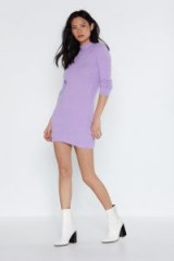 NASTY GAL Meet Me in a Mini Sweater Dress in lavender ~ fluffy jumper dresses