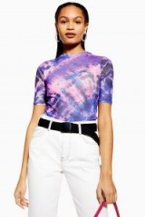 Topshop Mesh Tie Dye Top in Purple