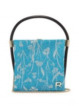 ROCHAS Metallic brocade satin clutch ~ turquoise and silver bags ~ luxe accessory