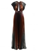 GIVENCHY Metallic-bronze and silver pleated silk-blend gown ~ luxe event dress