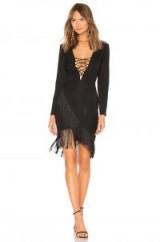 Michael Costello x REVOLVE Sienna Dress in Black | plunge front fringe trimmed dresses