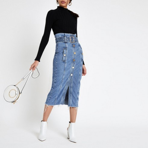 River Island Mid blue paperbag denim midi skirt | high waist button front skirts
