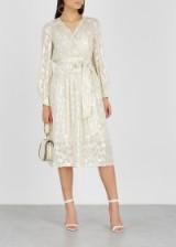 MILLY Katy ivory fil coupé silk-blend dress ~ feminine metallic thread dresses