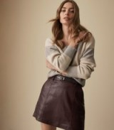 REISS MIMI LEATHER MINI SKIRT OXBLOOD ~ essential luxe clothing