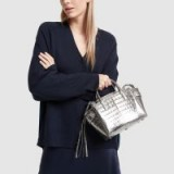 Nancy Gonzalez MINI CRISTIE TOP-HANDLE BAG in Anthracite | small metallic handbag