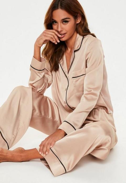 MISSGUIDED mink long sleeve piped trim pyjama set ~ silky satin PJs