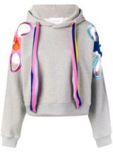 MIRA MIKATI rainbow flower patch hoodie Grey Marl ~ floral applique hoodies