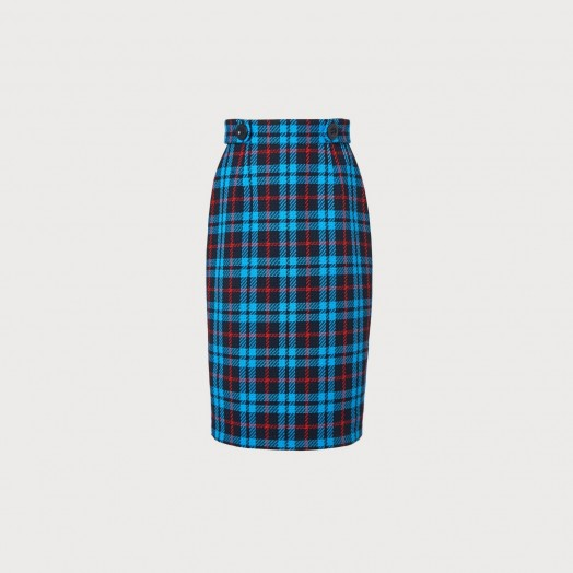 L.K. BENNETT MIROE BLUE CHECK SKIRT / tartan pencil skirts