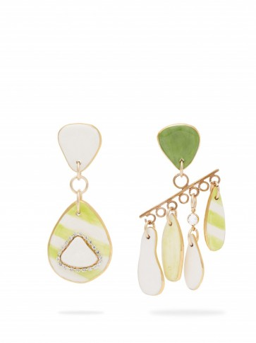 SONIA BOYAJIAN Mismatched green striped ceramic earrings ~ large statement jewellery