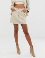 Missguided co-ord a line denim skirt with contrast stitch in ecru | neutral mini skirts