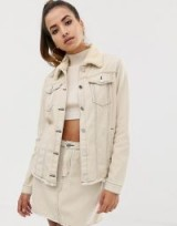 Missguided co-ord denim jacket with borg collar and contrast stitch in ecru | neutral casual jackets