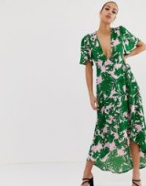 Missguided plunge wrap front midi dress in pink with green tropical palm print