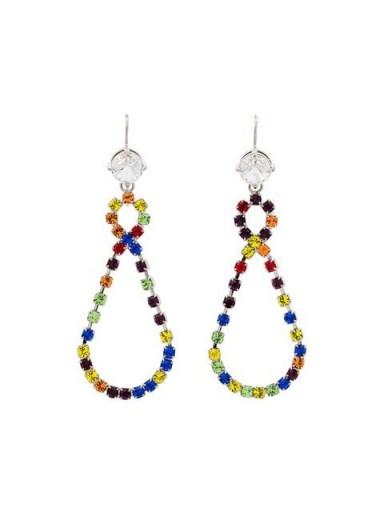 MIU MIU multicoloured rainbow crystal drop loop earrings / coloured crystals / colourful hoops