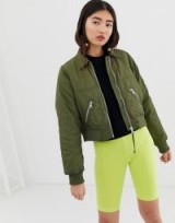 Monki short bomber jacket with oversized pockets in khaki | green bombers