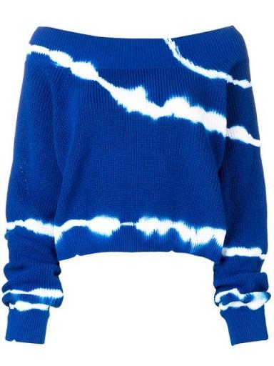 MSGM off shoulder tie-dye sweater in blue / bardot knitwear