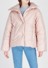 NANUSHKA Hide crocodile-effect faux leather jacket in blush ~ light-pink quilted jackets