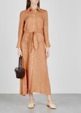NANUSHKA Nija paisley silk shirt dress in caramel ~ waist tie dresses