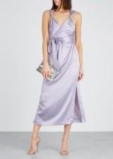 NANUSHKA Shanti lilac satin midi dress ~ feminine event clothing