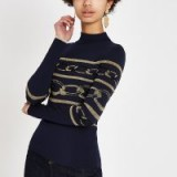 River Island Navy metallic chain stitched high neck top | blue pattered knitwear