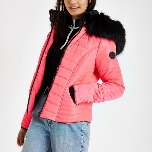 RIVER ISLAND Neon pink faux fur hood padded coat – bright winter jackets
